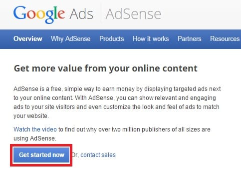 Adsense Get Started NOw